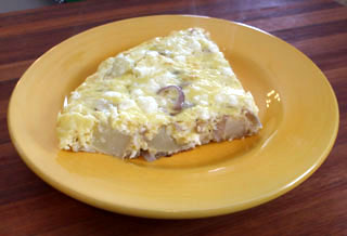 Potato, Red Onion and Feta Frittata slice