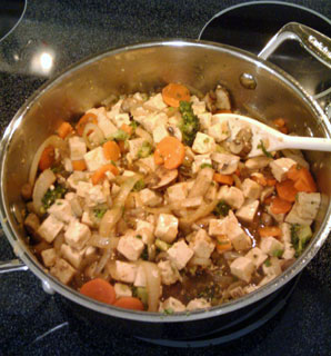 cooking Stir-Fry Broccoli and Carrots with Tofu