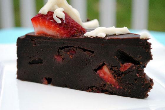 Fudge Lover's Strawberry Truffle Cake Slice