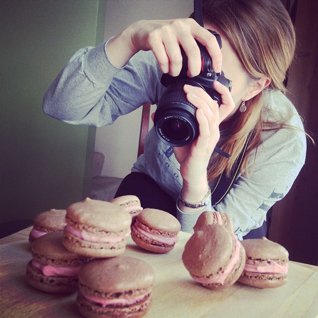 Leah snapping pics of macarons for So, How's It Taste?