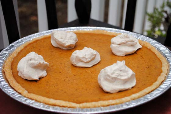 Classic Pumpkin Pie with Spiced Cream Clouds by So, How's It Taste? www.leah-claire.com