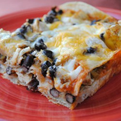 Layered Chicken Black Bean Enchiladas