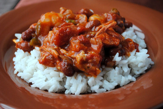 Slow-Cooked Jambalaya-Style Red Beans & Rice