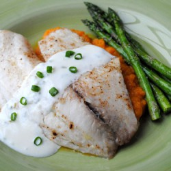 Broiled Tilapia with Carrot and Yam Puree