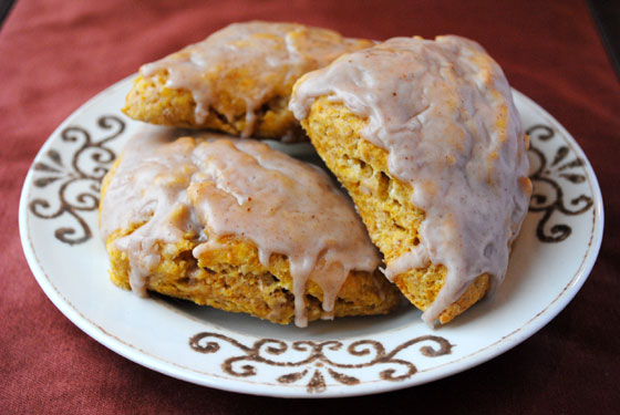 Pumpkin Scones with Spiced Glaze by So, How's It Taste? www.leah-claire.com