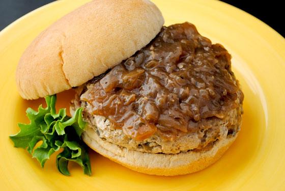 French Onion & Mushroom Turkey Burgers