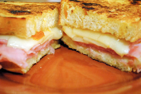 Ham & Swiss Grilled Cheese on Rosemary Apricot Bread