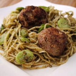 Turkey Pancetta Meatballs over Pasta with Mint Pesto & Fava Beans