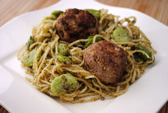 Turkey Pancetta Meatballs over Pasta with Mint Pesto & Fava Beans