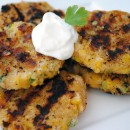Grilled Cheesy Corn Cakes