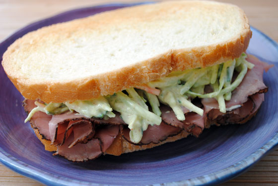 Roast Beef Sandwich with Horseradish Slaw