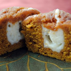 Inside of a Pumpkin Cream Cheese Muffin