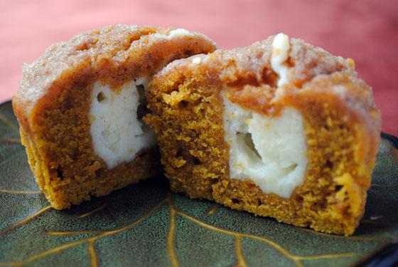 Inside of a Pumpkin Cream Cheese Muffin