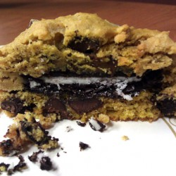 Open Oreo-stuffed Pumpkin Chocolate Chip Cookie