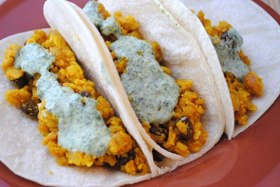Lentil Tacos with Cilantro Yogurt