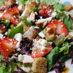 Balsamic Chicken, Feta, & Strawberry Salad