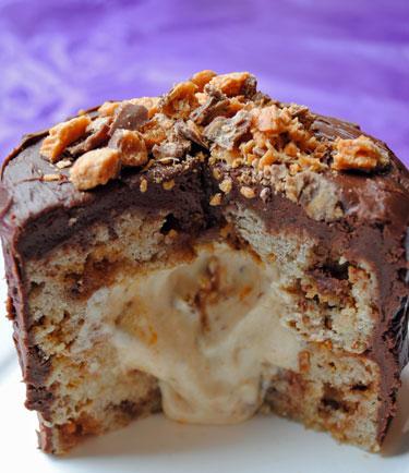 Inside Surprise Butterfinger Banana Cake