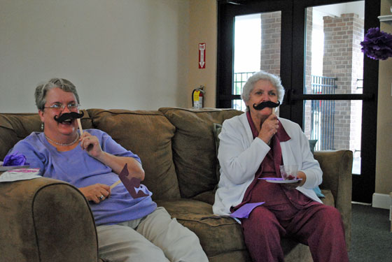 Mom & Grandma playing Staches & Tiaras