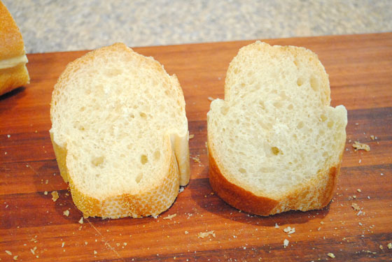 Now You Have Two Pieces If The Bottom Is Too Thick Can Cut A Bit Off Want Enough To Hold Dip But Not Huge Chunk Of Bread Baguette Step 4