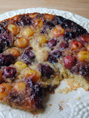 Cut Double Cherry Upside Down Cake