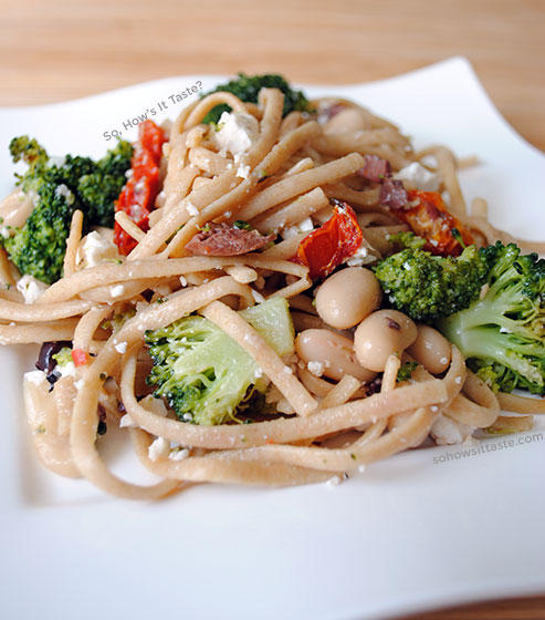 Broccoli Linguine with Feta by So, How's It Taste? www.leah-claire.com