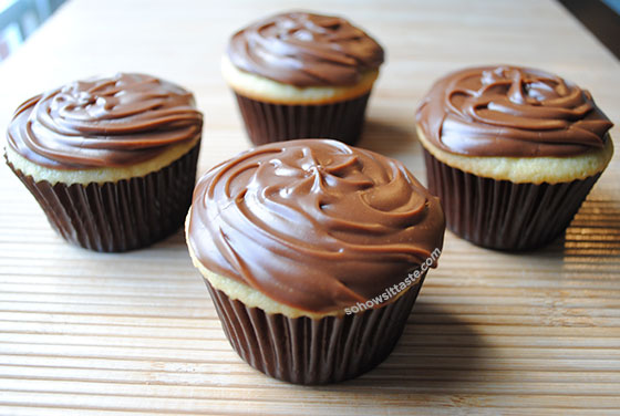 Cake Mix Doctor®'s Yellow Cupcakes with Chocolate Fudge Marshmallow Frosting by So, How's It Taste? www.sohowsittaste.com