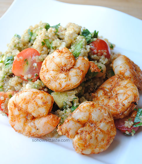 Spicy Grilled Shrimp and Quinoa Salad by So, How's It Taste? www.leah-claire.com