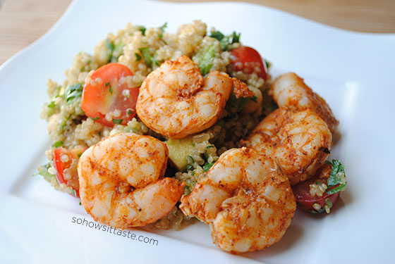Spicy Grilled Shrimp with Quinoa Salad by So, How's It Taste? www.leah-claire.com