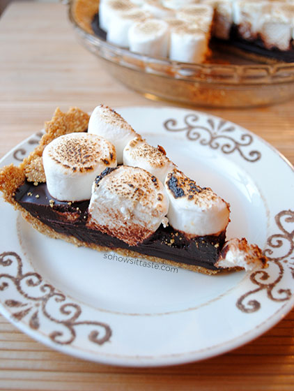No-Bake S'mores Pie Slice by So, How's It Taste? www.sohowsittaste.com