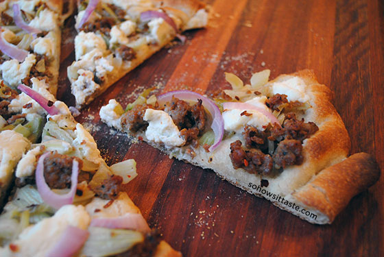 Sausage Fennel and Ricotta Pizza Slice by So, How's It Taste? www.leah-claire.com