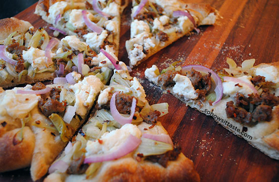 Sausage Fennel and Ricotta Pizza by So, How's It Taste? www.sohowsittaste.com