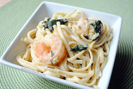 Shrimp Linguine with Ricotta, Fennel, and Spinach by So, How's It Taste? www.sohowsittaste.com