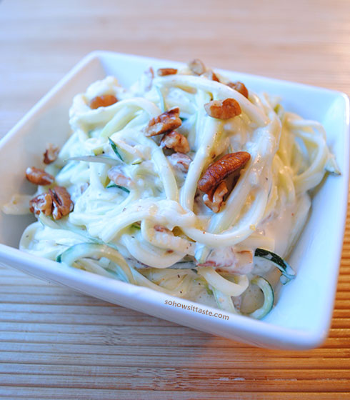 Zucchini Noodles with Lemon Cream Sauce by So, How's It Taste?