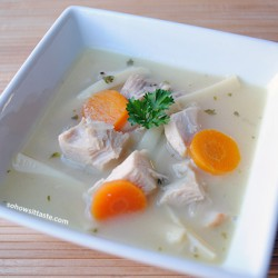 Lemon Chicken Soup with Fettuccine by So, How's It Taste?