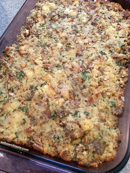Cornbread, Sausage, and Pecan Dressing by So, How's It Taste?