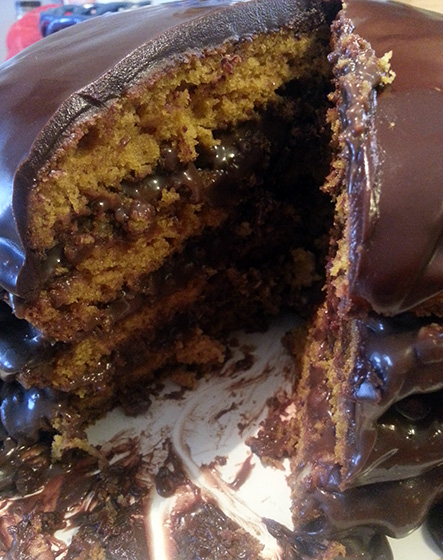 Pumpkin Spice Cake with Chocolate Pecan Filling by So, How's It Taste?