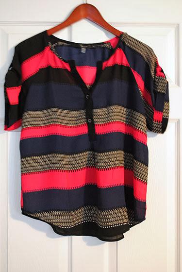 Fun2Fun Lezly Striped Tab-Sleeve Top