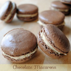 Chocolate Macarons with Salted Caramel Buttercream