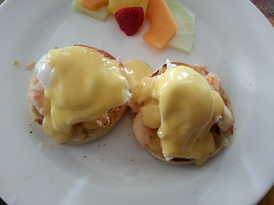 Lobster Eggs Benedict, Blue Heaven