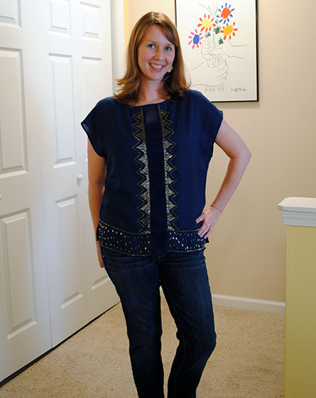 Kut from the Kloth Isabel Sheer Beaded Detail Blouse