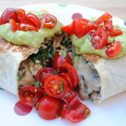 Chicken, Kale, and Mushroom Chimichangas
