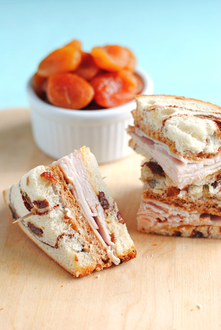 double decker apricot turkey sandwiches