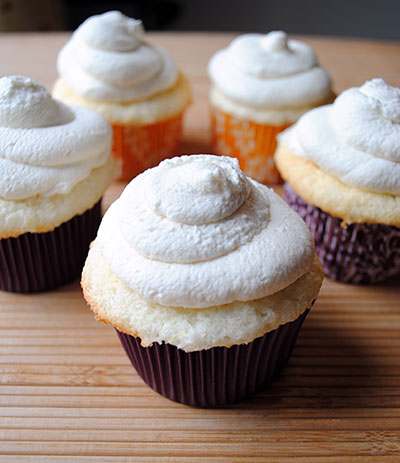 Lemon Angel Food Cupcakes with Lemon Curd and Mascarpone Frosting
