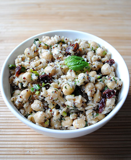 Warm Brown Rice Chickpea Salad with Cherries and Goat Cheese