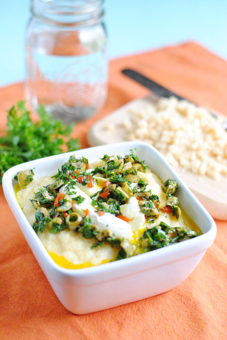 Poached Egg over Polenta with Olive-Herb Pesto