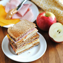 Apple, Almond, Cheddar, & Ham Sandwich