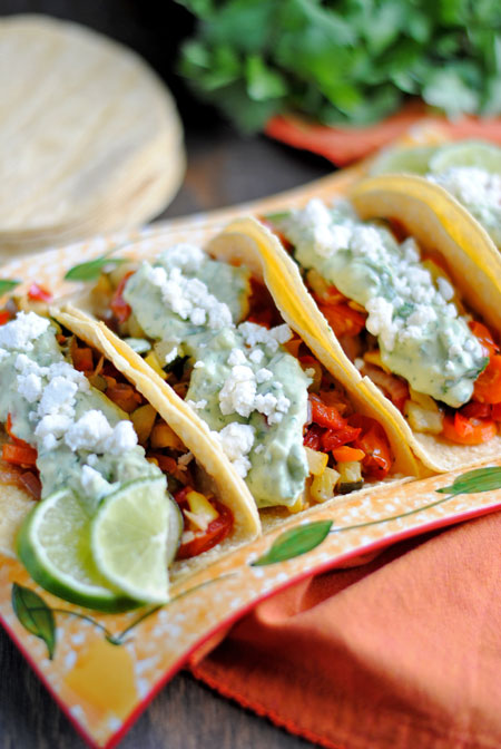 Roasted Veggie Tacos with Avocado Cream