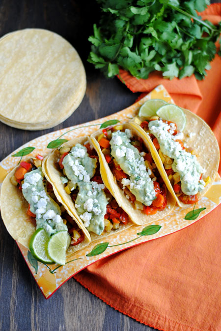 Roasted Veggie Tacos with Avocado Cream