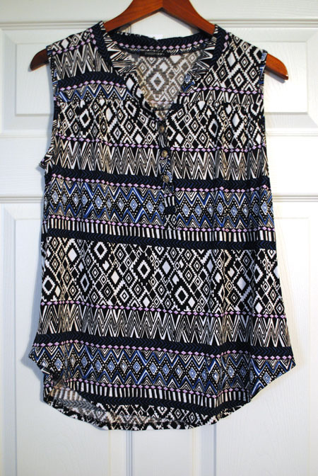 Papermoon Lexis Tribal Print Henley Tank Top
