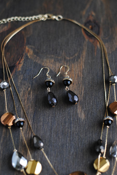 Black & Gold Bead Earrings